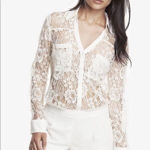Express   White Lace Button Down Portfolio Blouse